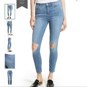 FREE PEOPLE HIGH RISE SKINNY BUSTED KNEE JEAN